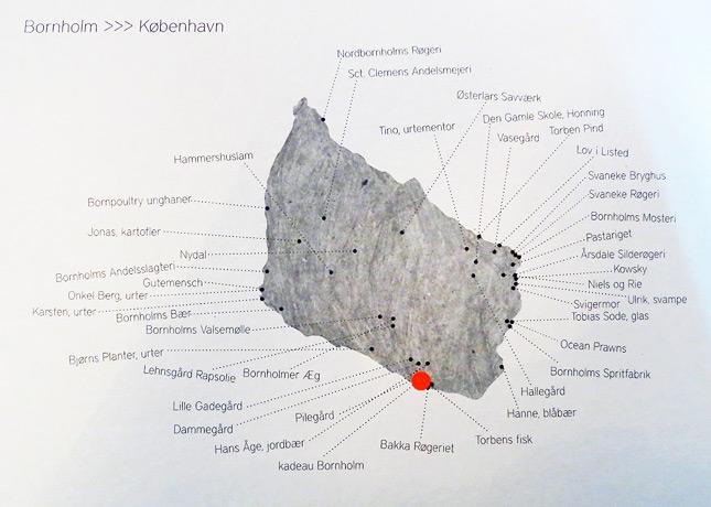 Map of Bornholm in the menu of Kadeau Restaurant, Copenhagen // FoodNouveau.com
