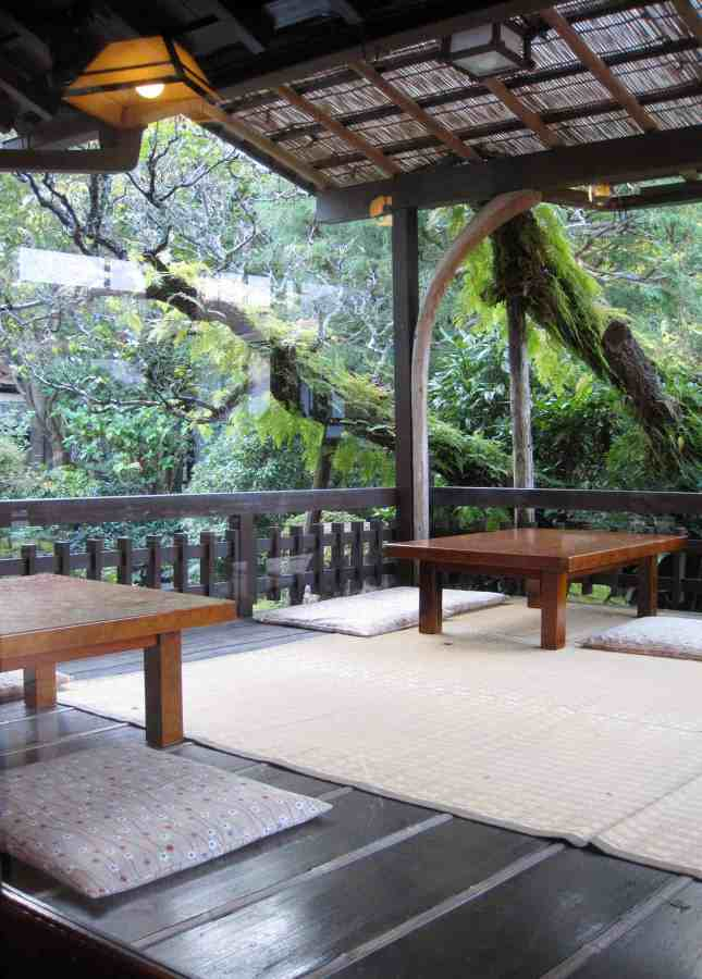 The outdoor patio at Seryo, a ryokan (Japanese inn) in the Ohara region of Japan, an hour north of Kyoto. // FoodNouveau.com