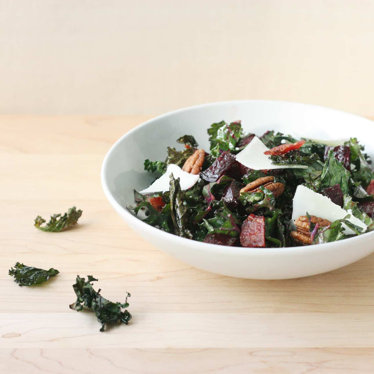 Crispy and Raw Kale, Beets, and Pecan Salad