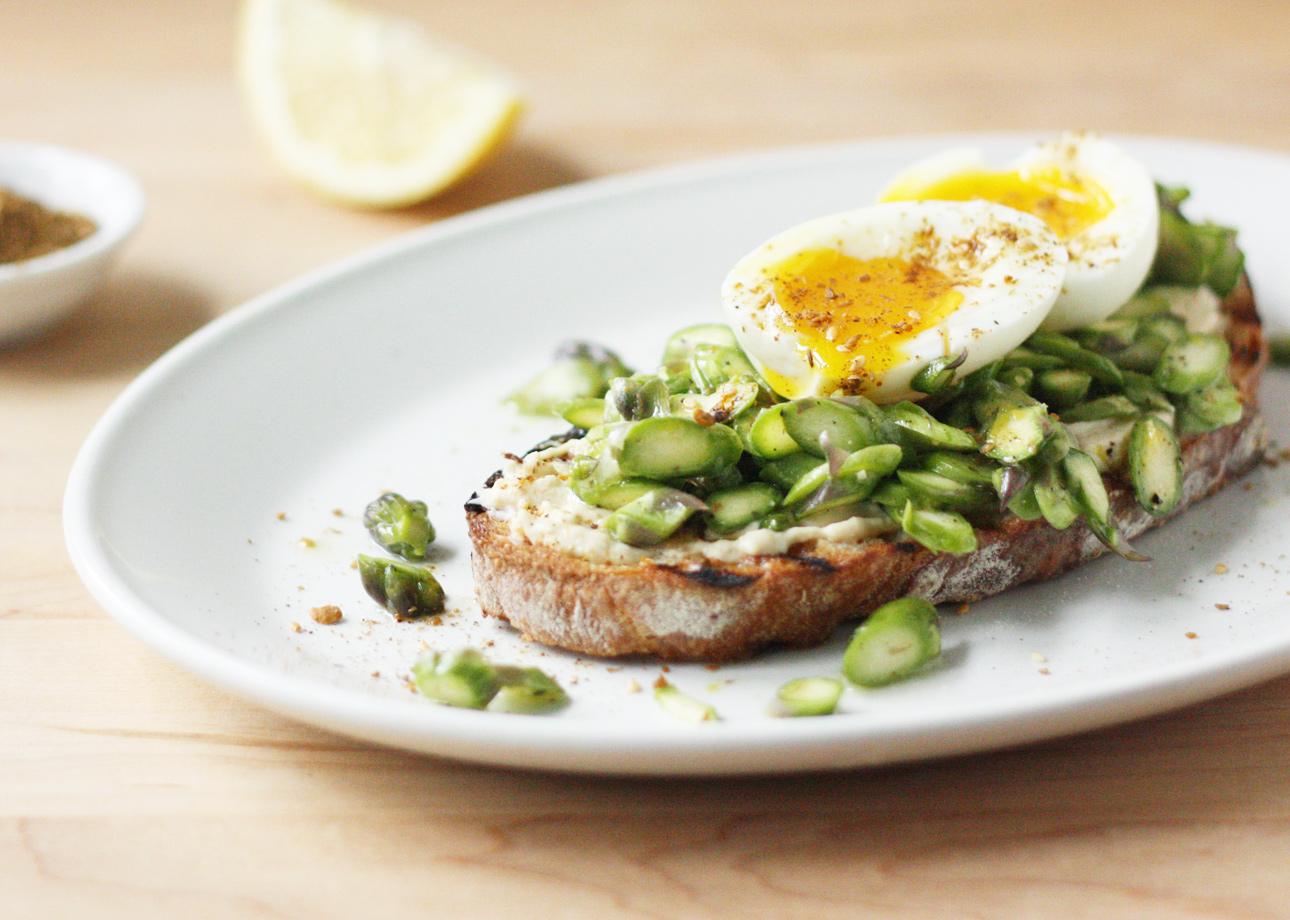 Asparagus, Soft-Boiled Egg, and Dukkah Tartine