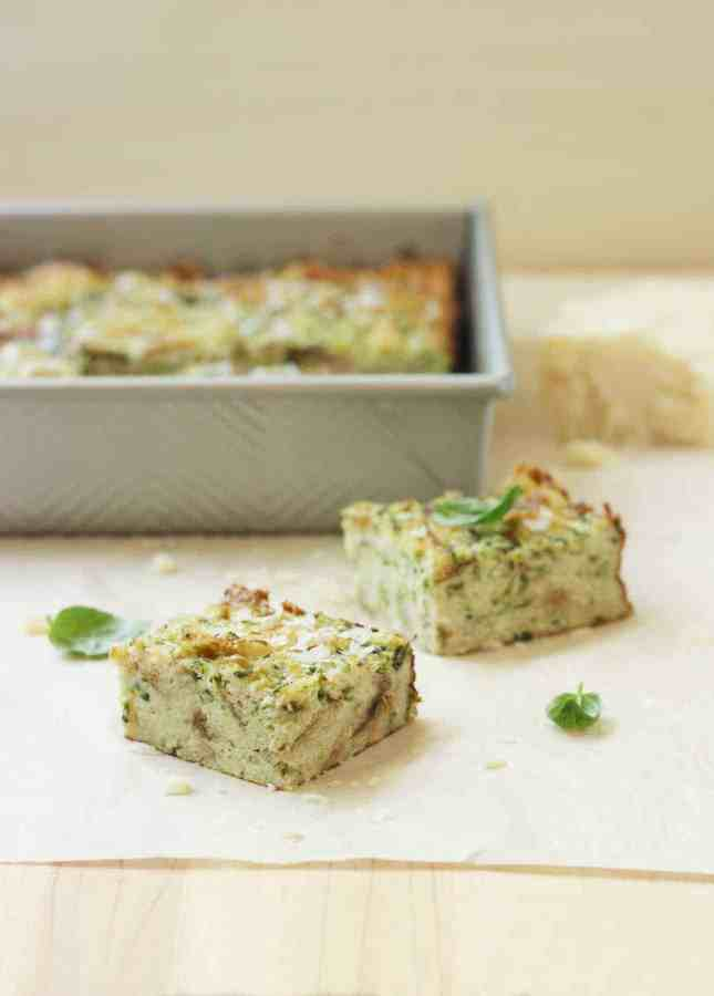 Zucchini and Parmesan Savory Bread Pudding // FoodNouveau.com