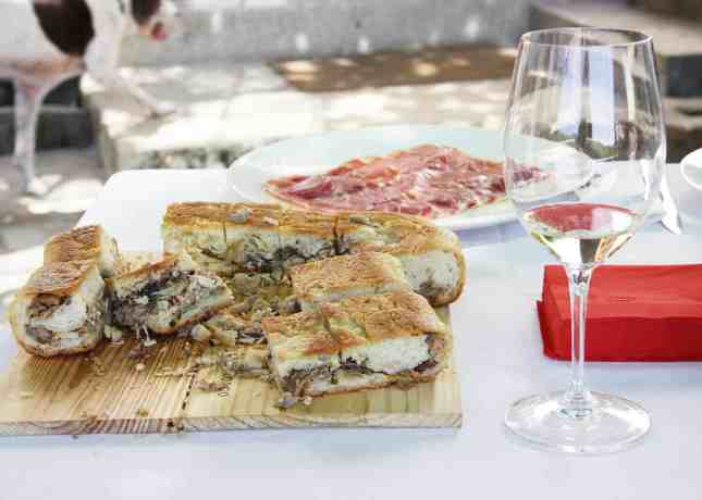 Stuffed bread and cured meats served as a pre-lunch snack at Quinta do Manoella, Douro Valley, Portugal // FoodNouveau.com