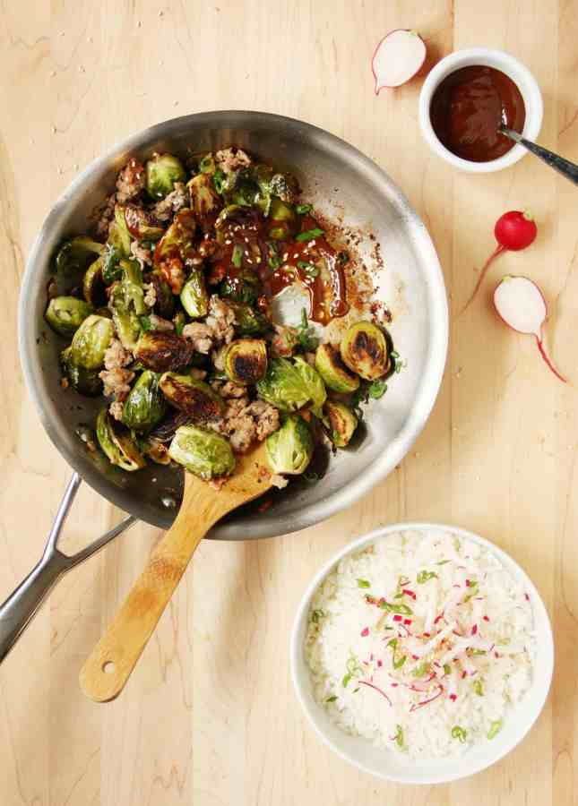 Spicy Korean Brussels Sprouts and Sausage Sauté // FoodNouveau.com