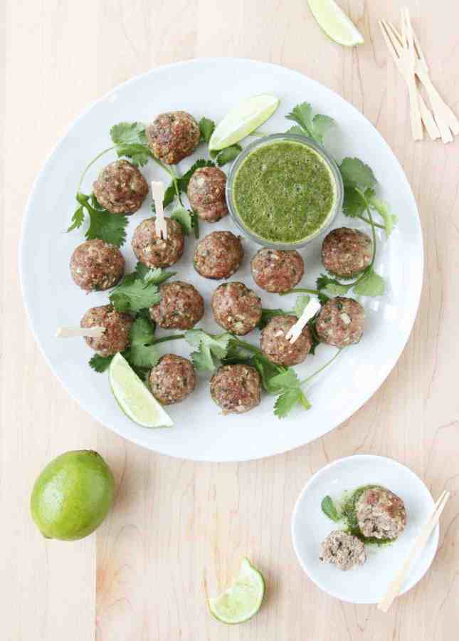 Indian Lamb Meatballs with Mint, Coriander, and Lime Chutney // FoodNouveau.com