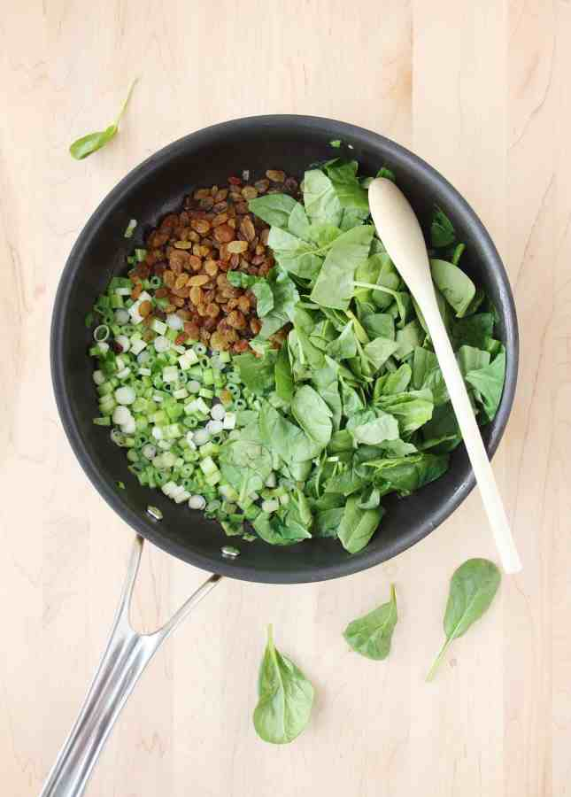 The ingredients to make No-Roll Turkey Meatballs with Spinach and Raisins, a quick and flavorful family-friendly dish // FoodNouveau.com