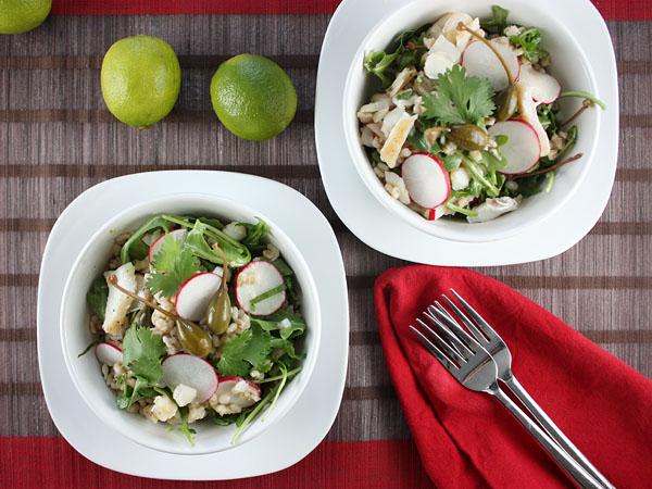 Warm Cod, Barley, and Caper Berries Salad // FoodNouveau.com