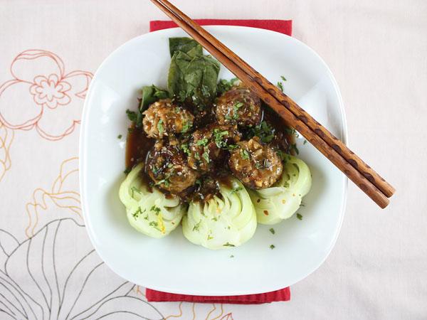 Pork-Jasmine Rice Meatballs with Baby Bok Choy // FoodNouveau.com