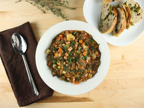 Lentil Stew with Ham and Greens // FoodNouveau.com