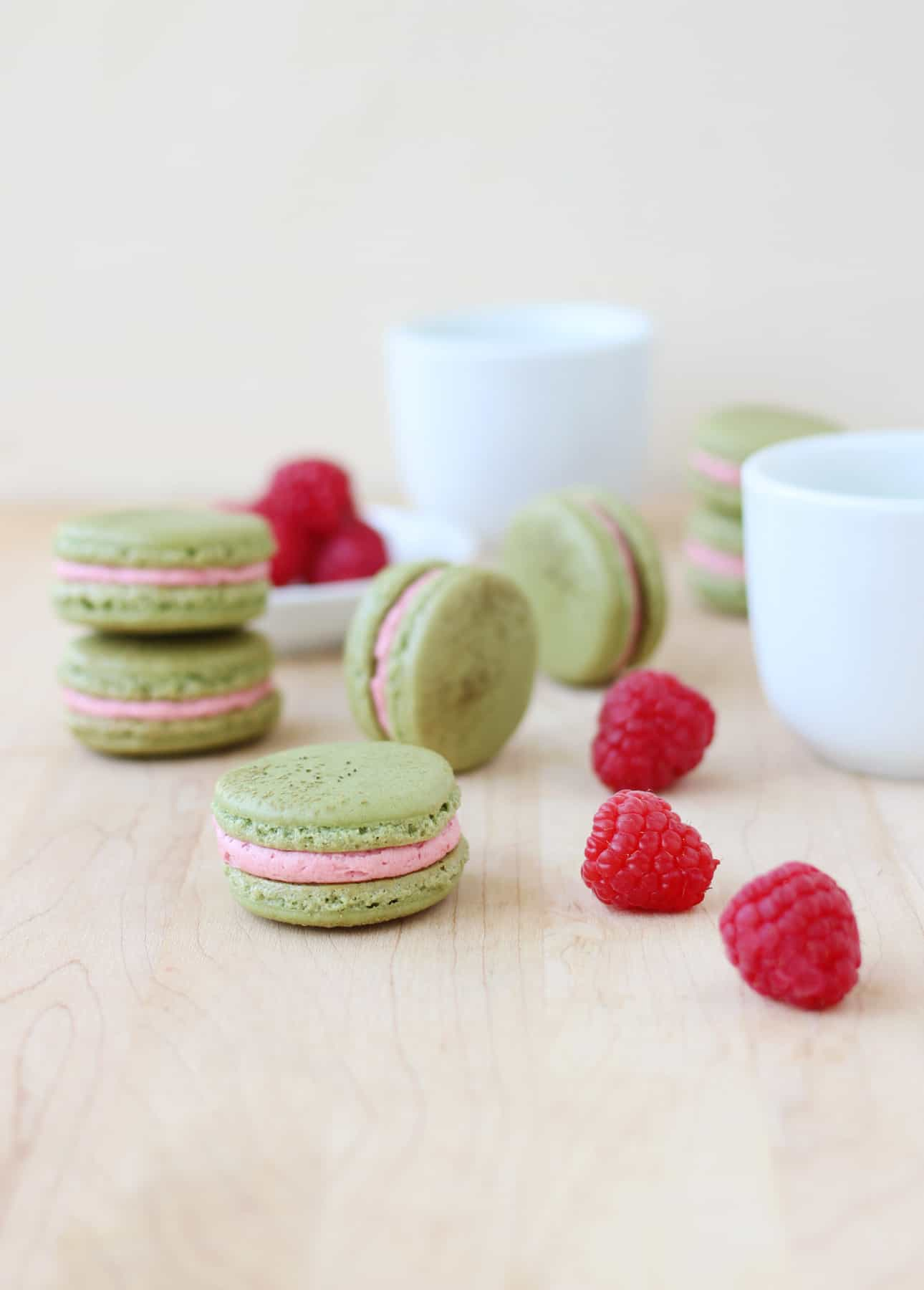 Fresh Raspberry and Matcha Macarons