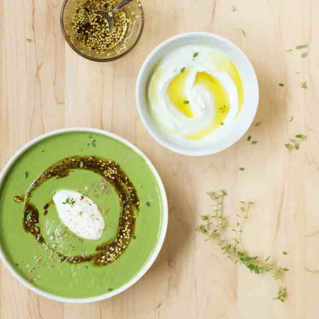 Velvety Spinach, Cauliflower, and Tahini Soup with Za'atar Oil: A dairy-free, velvety smooth soup that impresses with its bright green color, nutritional value, and aromatic flavors. // FoodNouveau.com