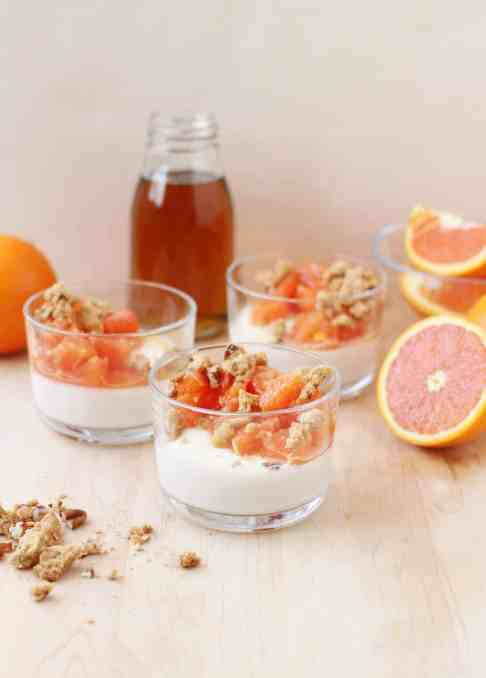 Cara Cara Orange and Maple Panna Cotta with Pecan-Maple Crumble