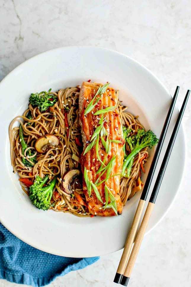 Miso Glazed Salmon With Sesame Soba Noodles, by Killing Thyme // FoodNouveau.com