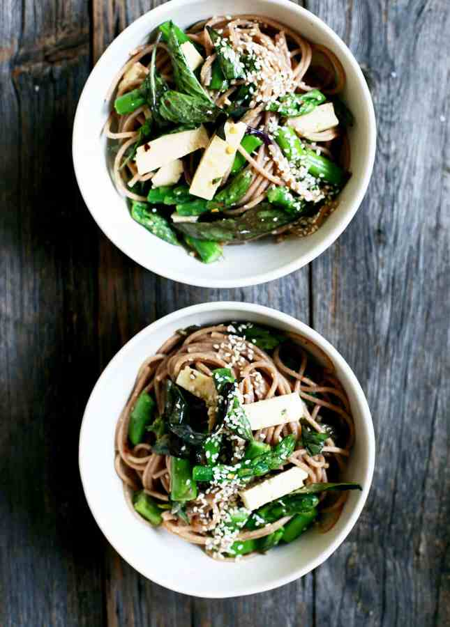 Miso Orange Sesame Noodle Salad with Thai Basil, Tofu and Asparagus, by Yummy Beet // FoodNouveau.com