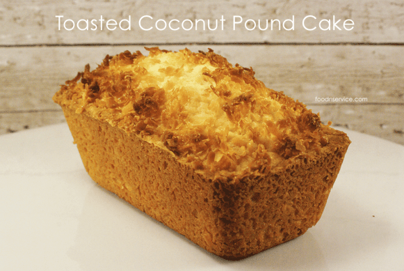 Homemade Toasted Coconut Pound cake is chewy, sweet, and delicious!