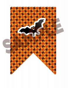 halloween bat bunting flag printable
