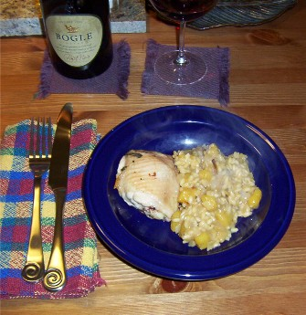 squash risotto and bakedchicken