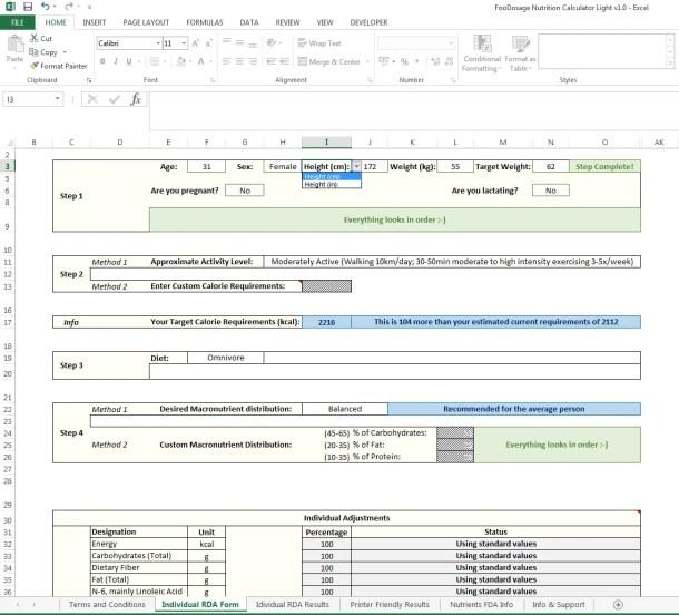 Foodosage Nutrition Calculator - Form filled in