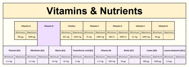 Foodosage Nutrition Calculator - Vitamins (RDA Results for a moderately active, non-pregnant, non-lactating, 31 year old woman with no dietary restrictions, weighing 60kg)