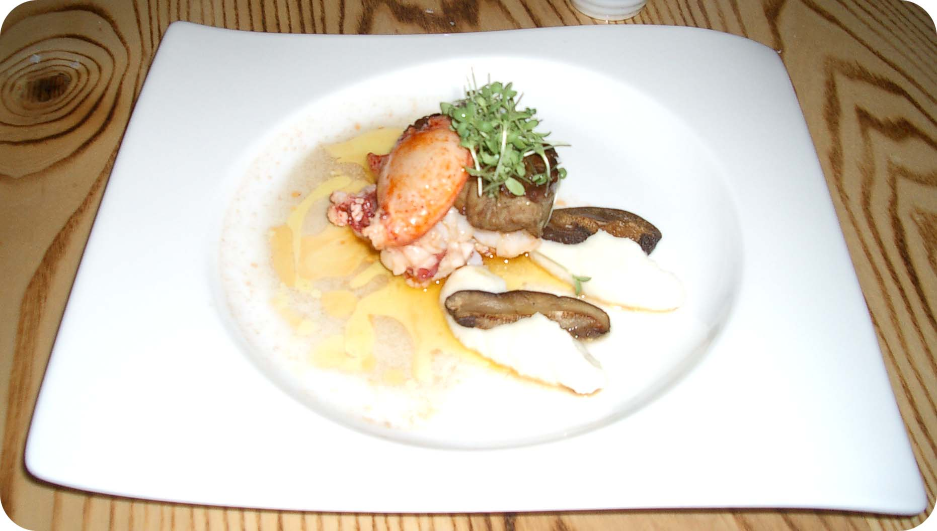 Lobster, Fois-gras, shiitake, and white asparagus puree