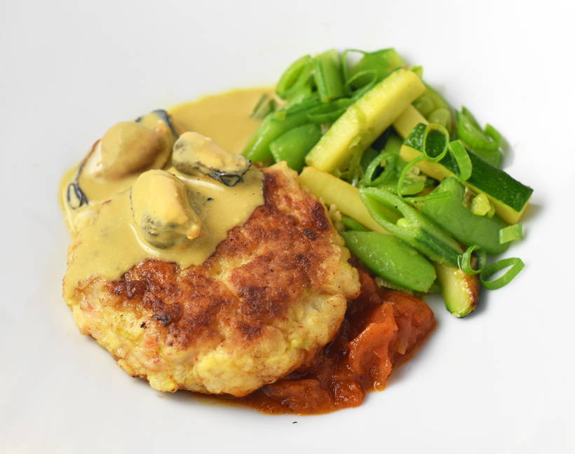 Crimean Fishcakes with Mussel Sabayon and Tomato Compote