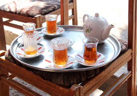 Azerbaijan Travel - Quba - Police Station - Drinking Tea
