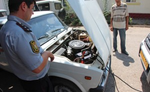 Azerbaijan Travel - Quba - Police Station - Jump Starting