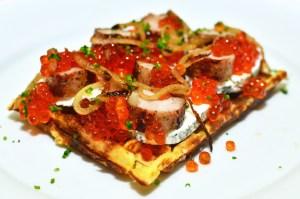 Salmon Roe and Potato Waffle