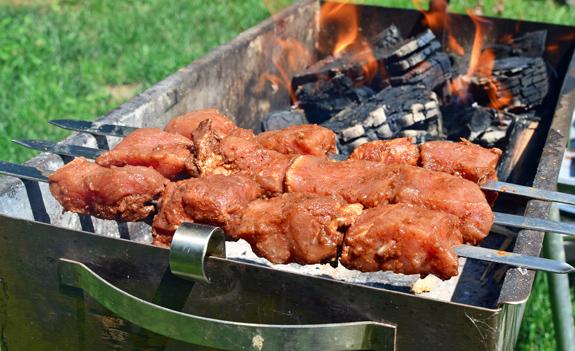 Russian Cuisine - Pork Shashlyk Grilled over Peat