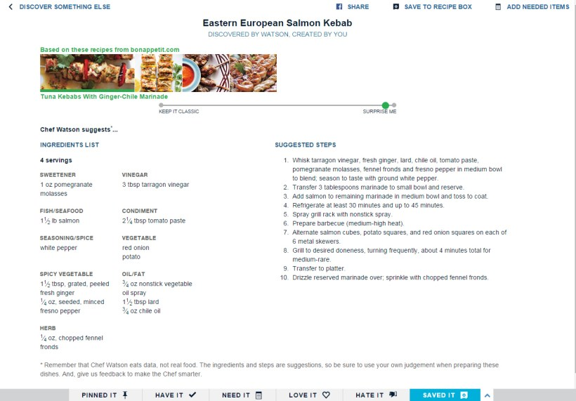 Chef Watson - Eastern European Salmon Kebab