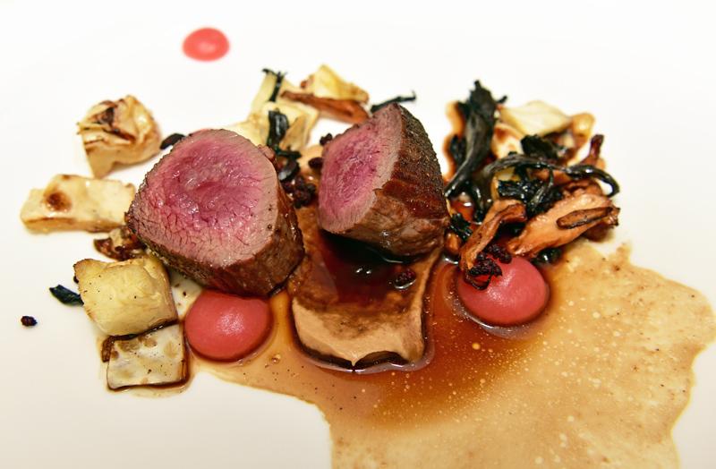 Manoir Hovey - Le Hatley Restaurant - Red Deer Gigue, Apples, Wild Mushrooms, Elderberry and Cabbage