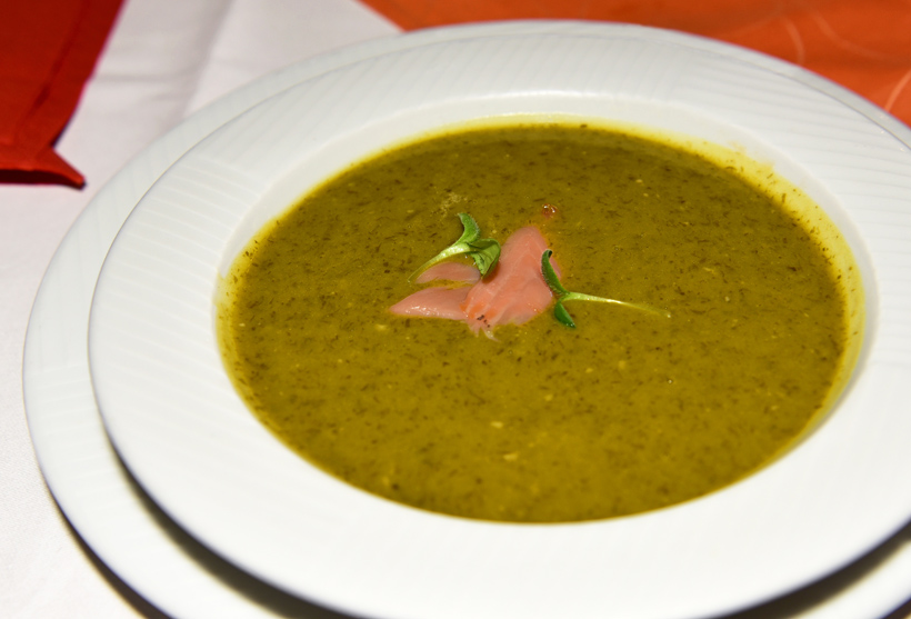 Czech Republic - Mikulov - Templ Restaurant - Cream of Ramson Soup with Smoked Salmon