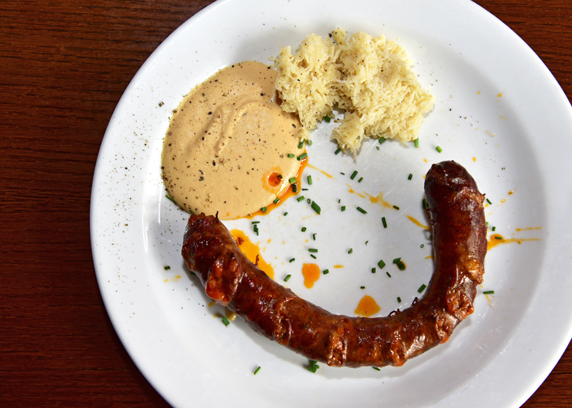 Bratislava - Bratislavský Meštiansky Pivovar - Sausage with Mustard and Horseradish