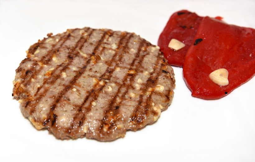 Zagreb - Baltazar Restaurant - Pljeskavica Baltazar and Marinated Red Peppers