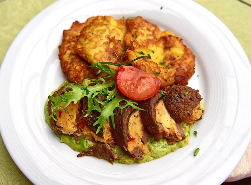 Hegykő - Tornácos Restaurant - Lamb Roulade, Parsley Sauce, Zucchini-Potato Pancakes