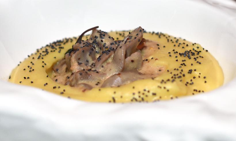 Moscow - White Rabbit - Rabbit Tongues, Potato Purée, Black Truffle and Mustard Sauce