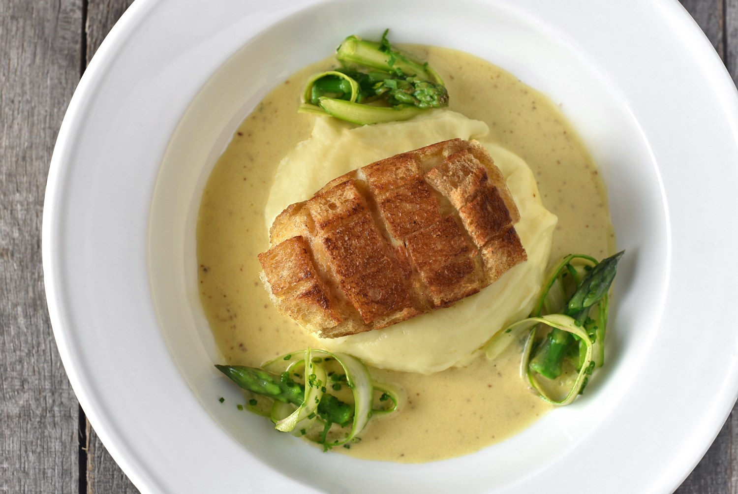 Russian Food - Crab Pozharsky, Mustard Sauce, Aligot and Asparagus