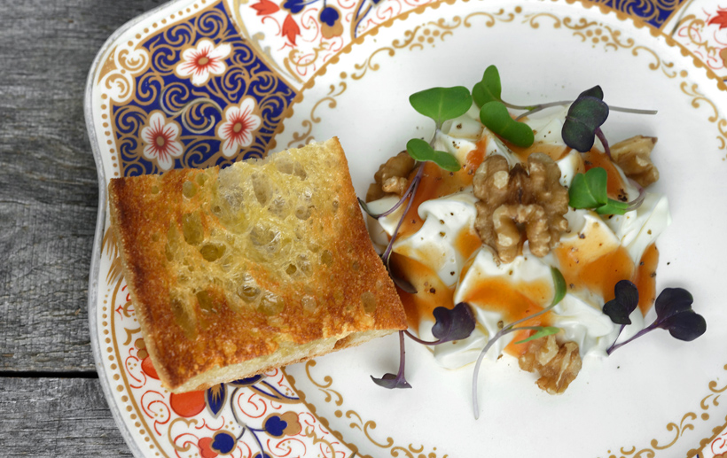 Montenegrin Cheese Mousse, Peach Sauce and Walnuts