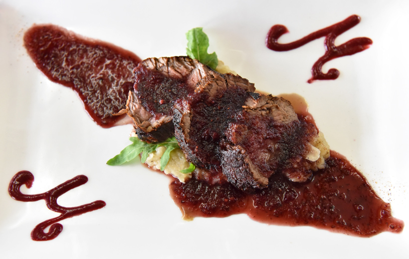 Lake Skadar - Jezero Restaurant - Tenderloin Roast with Mashed Potatoes and Carob-Blackberry Sauce