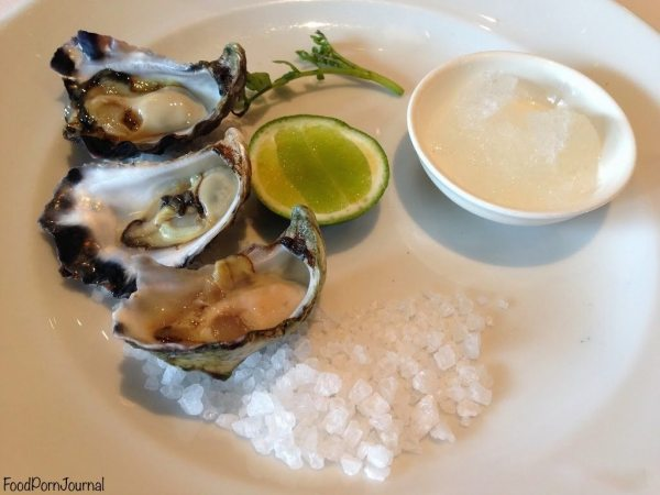 Freshly shucked oysters with lime and pepper granita