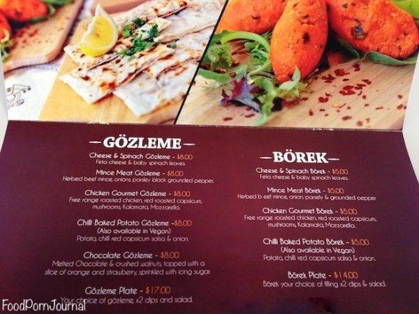 Gozleme cafe menu 2