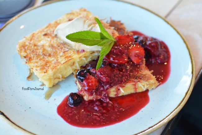 The Pedlar Campbell coconut crusted french toast