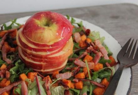 salade zoete aardappel, spekjes, appel