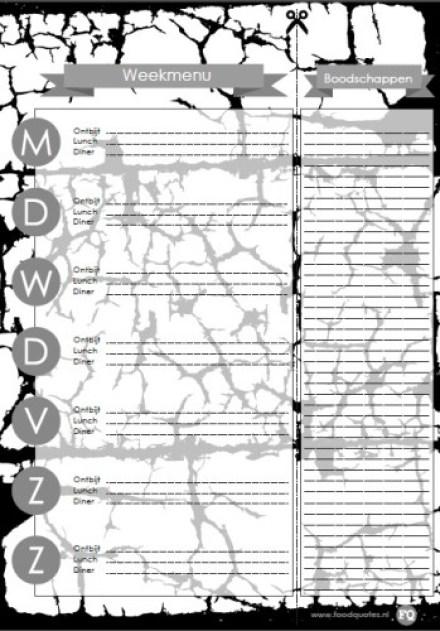 print weekmenu planner