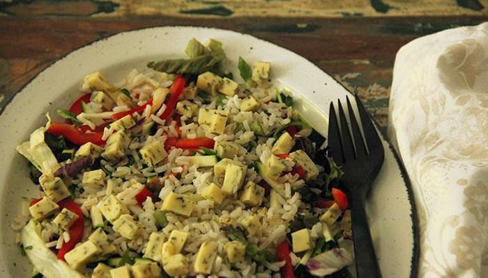 salade rijst en kaas