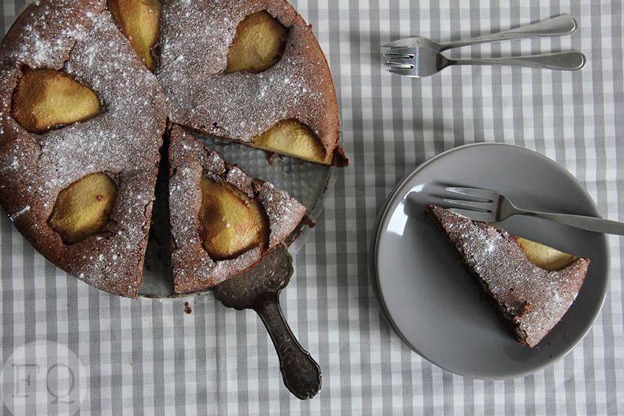 Chocoladetaart met peren -Glutenvrij