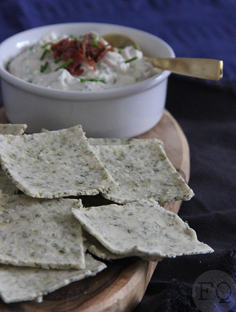 glutenvrije crackers ricotta-baconspread