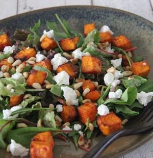 salade pittige zoete aardappel geitenkaas