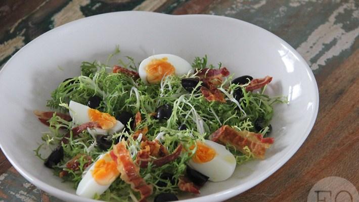 salade met gebakken pancetta