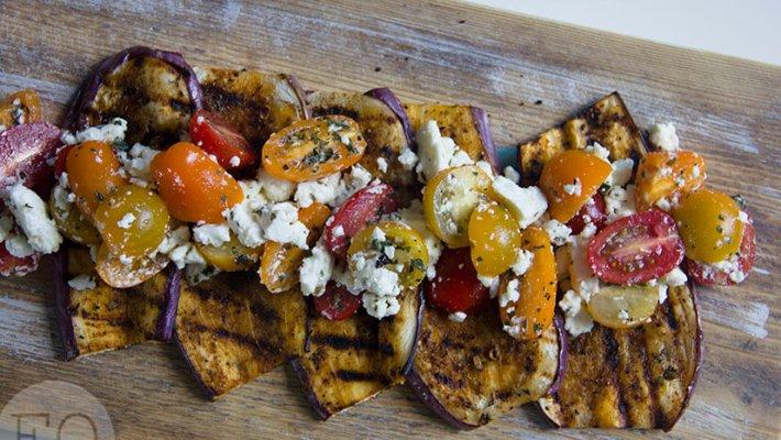 aubergine - tomaat - feta