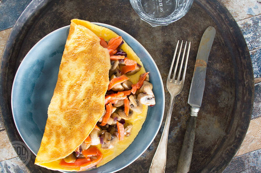 Omelet met champignons en zalm